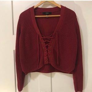 Forever 21 Lace up sweater